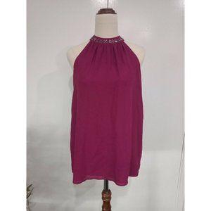 Now Purple Halter Neck Top Blouse Bead Embellish